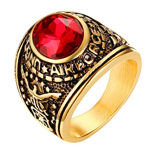 ALEXTINA Men's 22MM USAF Air Force Military Ring Single Round Cut Ruby Gemstone Size ()