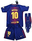 Messi #10 FC Barcelona 2018-2019 Youths Home Soccer Jersey & Socks Set (11-13 Years Old)