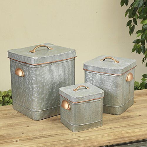 - Set of 3 LARGE Metal Antique Style Containers with Copper Look Finish Handles and Corrugated Sides