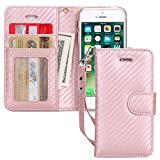 FYY Case for iPhone SE/iPhone 5S/iPhone 5, [Kickstand Feature] Luxury PU Leather Wallet Case Flip Folio Cover with [Card Slots][Wrist Strap] for iPhone SE/iPhone 5S/iPhone 5 Matting Rose Gold