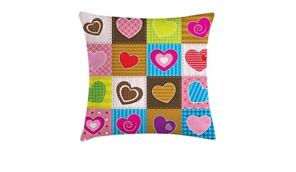 Country Throw Pillow Cushion Cover, Patchwork Themed Cute ...