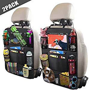 "518OiGEe2oL. SS300  - ULEEKA Car Backseat Organizer with 10"" Table Holder, 9 Storage Pockets Seat Back Protectors Kick Mats for Kids Toddlers, Travel Accessories, Black, 2 Pack"