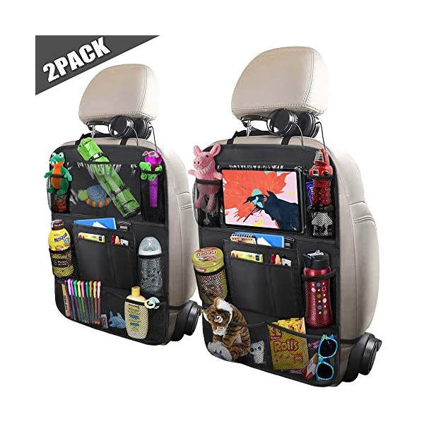 """518OiGEe2oL. SS600  - ULEEKA Car Backseat Organizer with 10"""" Table Holder, 9 Storage Pockets Seat Back Protectors Kick Mats for Kids Toddlers, Travel Accessories, Black, 2 Pack"""