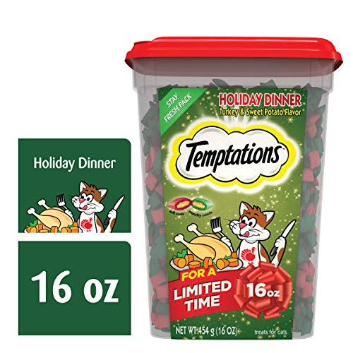 TEMPTATIONS Holiday Dinner Turkey and Sweet Potato Flavor Cat Treats, 16 oz. Tub