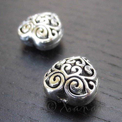 10 Pcs of Puff Heart 13mm Antiqued Silver Plated Filigree Beads