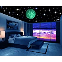 Glow in the Dark Stars w/ Bonus 20cm Full Moon Wall Decal -2018 DESIGN- Set of 230 Stars & Large Moon, Long Lasting, Realistic and Bright Glow: Perfect Gift, Room Decor, Decoration and Wall Sticker
