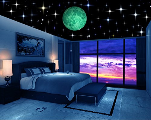 Glow in the Dark Stars w/ Bonus 20cm Full Moon Wall Decal -2018 DESIGN- Set of 230 Stars & Large Moon, Long Lasting, Realistic and Bright Glow: Perfect Gift, Room Decor, Decoration and Wall Sticker by Simple Solutions Inc.