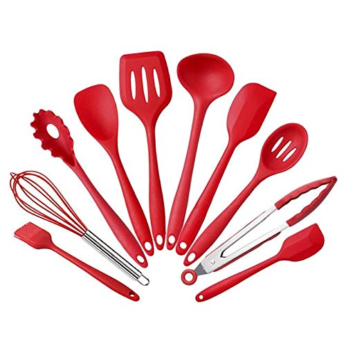 Silicone Kitchen Utensils 10 Pieces Heat Resistant Cooking Utensil Set Spatula, Spoon, Ladle, Spaghetti Server, Cooking Tools   Red