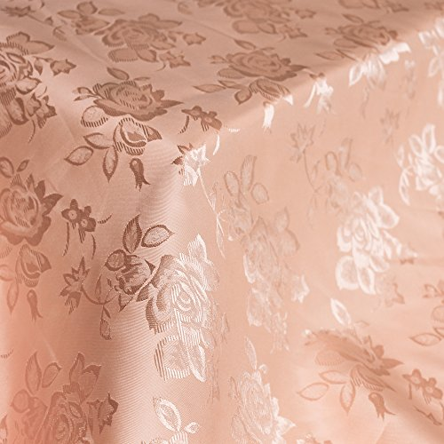 Floral Jacquard Brocade Satin Fabric by the Yard (Peach)