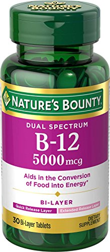 Nature's Bounty Dual Spectrum Bi-Layer B-12 5000 mcg, 30 Tablets (Natures Bounty 30 Tablets)