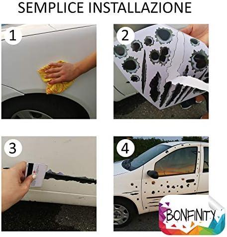Bonfinity - Adhesivos para agujeros de proyectiles, exteriores, para coche, moto, scooter, camión, casco, etc. 42 adhesivos para agujeros, proyectiles y arañazos de vinilo mixtos de tuning, resistentes al agua y autoadhesivos: