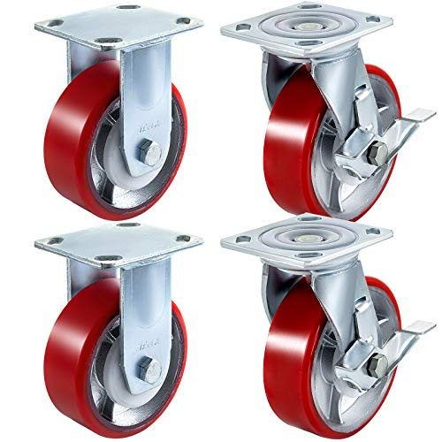 BestEquip 4 Pack 6 x 2 Inch Caster Wheels 2 Rigid and 2 Swivel Casters with Side Brake Polyurethane Iron Core Plate 1000LBS Capacity Per Wheel