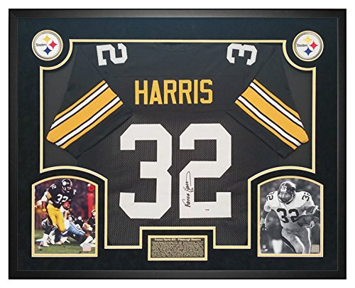 (Franco Harris Pittsburgh Steelers Autographed Custom Jersey PSA DNA COA - Shadow Box Frame)