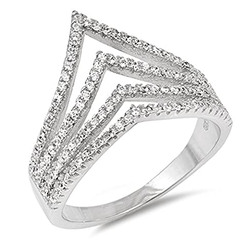 White CZ Open Chevron Pointed Wide Ring New .925 Sterling Silver Band Size 10 (RNG17578-10) (Chevron Cz Ring)