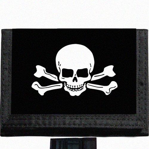 Skull and crossbones Black TriFold Nylon Wallet Great Gift ()