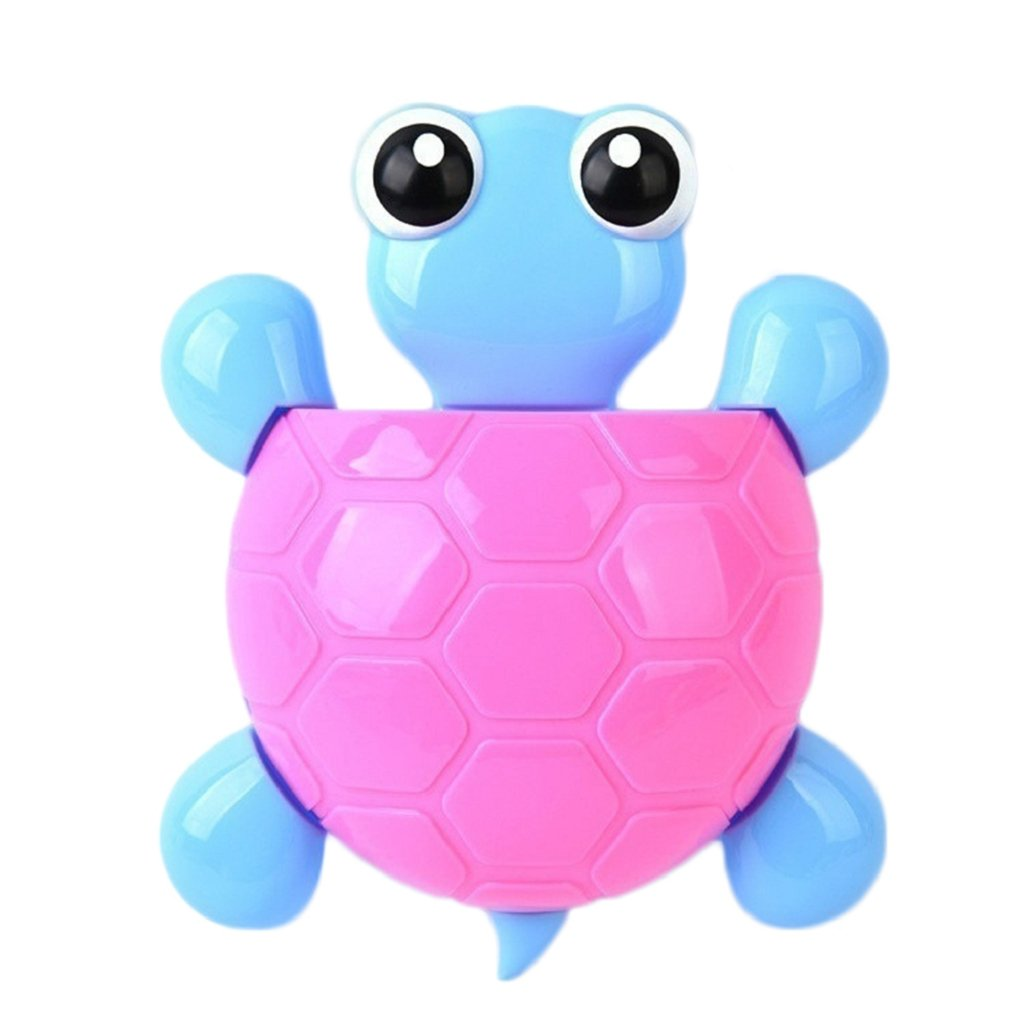 17YEARS Cute Cartoon Tortoise Shaped Suction Cup Bathroom Turtle Toothpaste Holder (Blue)
