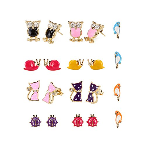 LEILE 10Pairs Gold Plated Stainless Steel Post Small Cute Multiple Animal Faux Pearl Stud Earrings Set for Girls ()