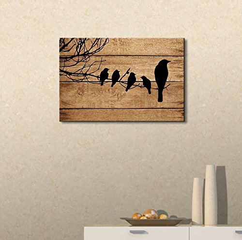 Artistic Birds on Branch on Vintage Wood Background