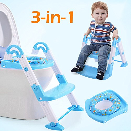 Toilet Chair Seat Step Ladder 3 in 1 Baby Potty Training Trainer (Round Sash Brush)