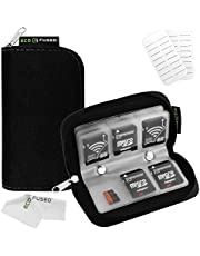 Eco-Fused Memory Card Carrying Case - Suitable for SDHC and SD Cards - 8 Pages and 22 Slots - Eco-Fused Microfiber Cleaning Cloth Included ((S) 22 Slots, Black)