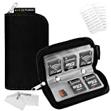 Eco-Fused Memory Card Carrying Case / Suitable for SDHC and SD Cards / 8 Pages and 22 Slots / Microfiber Cleaning Cloth Included (Black)