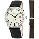 Stuhrling Original Mens Minimalist Swiss Quartz Stainless Steel Dress Wrist-Watch, Quick-Set Date, 2 Easy-Interchangeable Leather Straps – Black and Brown