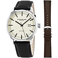 Mens Minimalist Swiss Quartz Stainless Steel Dress Wrist-Watch, Quick-Set Date, 2 Easy-Interchangeable Leather Straps – Black and Brown
