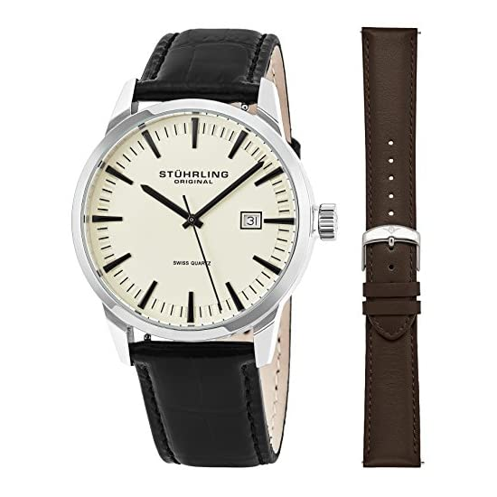 Stuhrling Original Mens Minimalist Swiss Quartz Stainless Steel Dress Wrist- Watch bd1ed1e6ed8