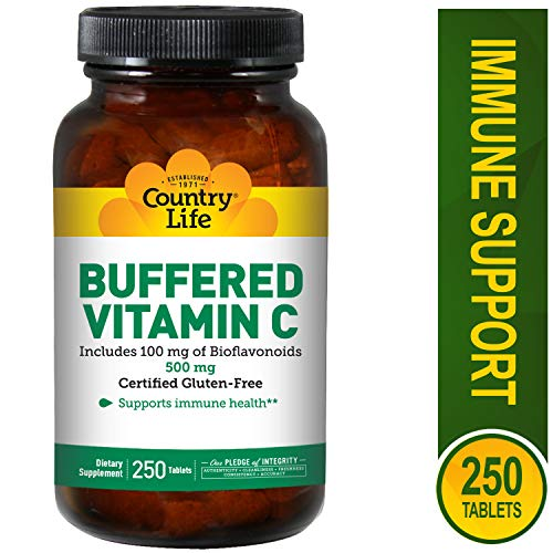Country Life Buffered Vitamin C w/ 100 mg of Bioflavonoids 500 mg - 250 Tablets - Supports Immune Health - Gluten-Free