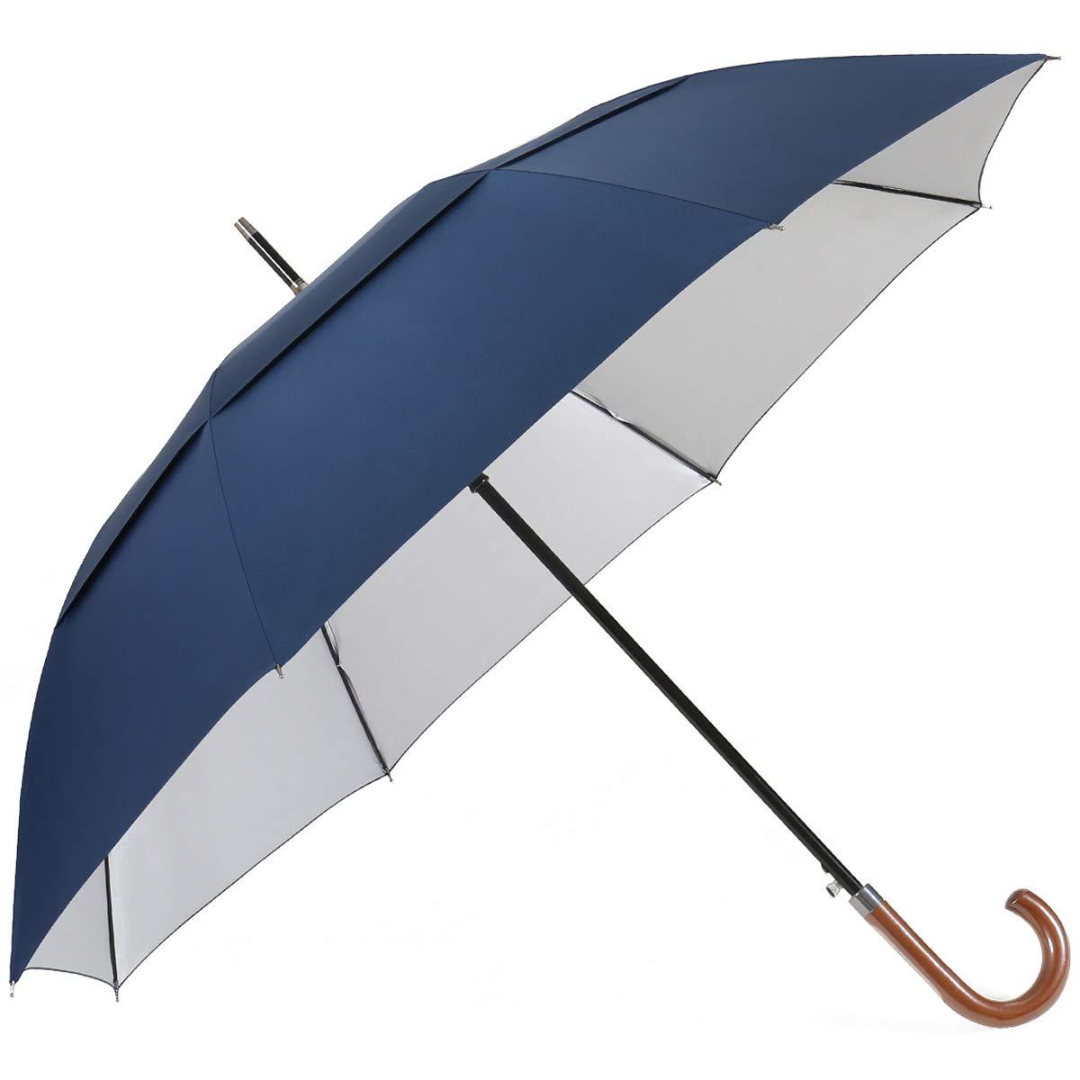 G4Free UV Hook Golf Umbrella UPF50 54inch Windproof Auto Open Large Oversized Double Canopy Vented Cane Stick Sun Block Umbrellas Men Women(Navy Blue) by G4Free
