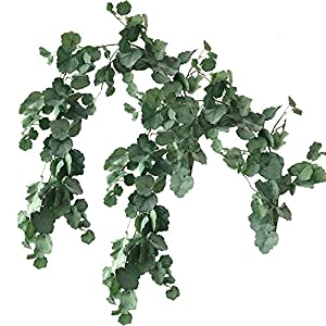 Aisamco 2 Pcs Artificial Hanging Begonia Leaves Vines Twigs Fake Silk Begonia Plants Leaves Garland String 5.7 Feet in Green for Indoor Outdoor Wedding Decor Greenery Wreath 5