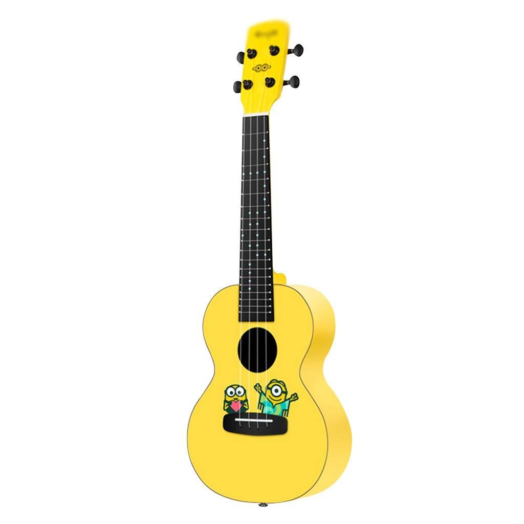 """Ukeleles Instrumentos de Cuerda Ukulele 4 Cuerdas Hawaii Guitarra para niños Película Animada Little Yellow Man Ukuleles 23 """"Accesorios completos Regalo ..."""