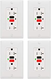 GFCI Outlet 20 Amp 4 Pack, UL Listed, Tamper-Resistant, Weather Resistant Receptacle Indoor or Outdoor Use, LED Indicator with Decor Wall Plates and Screws (White)