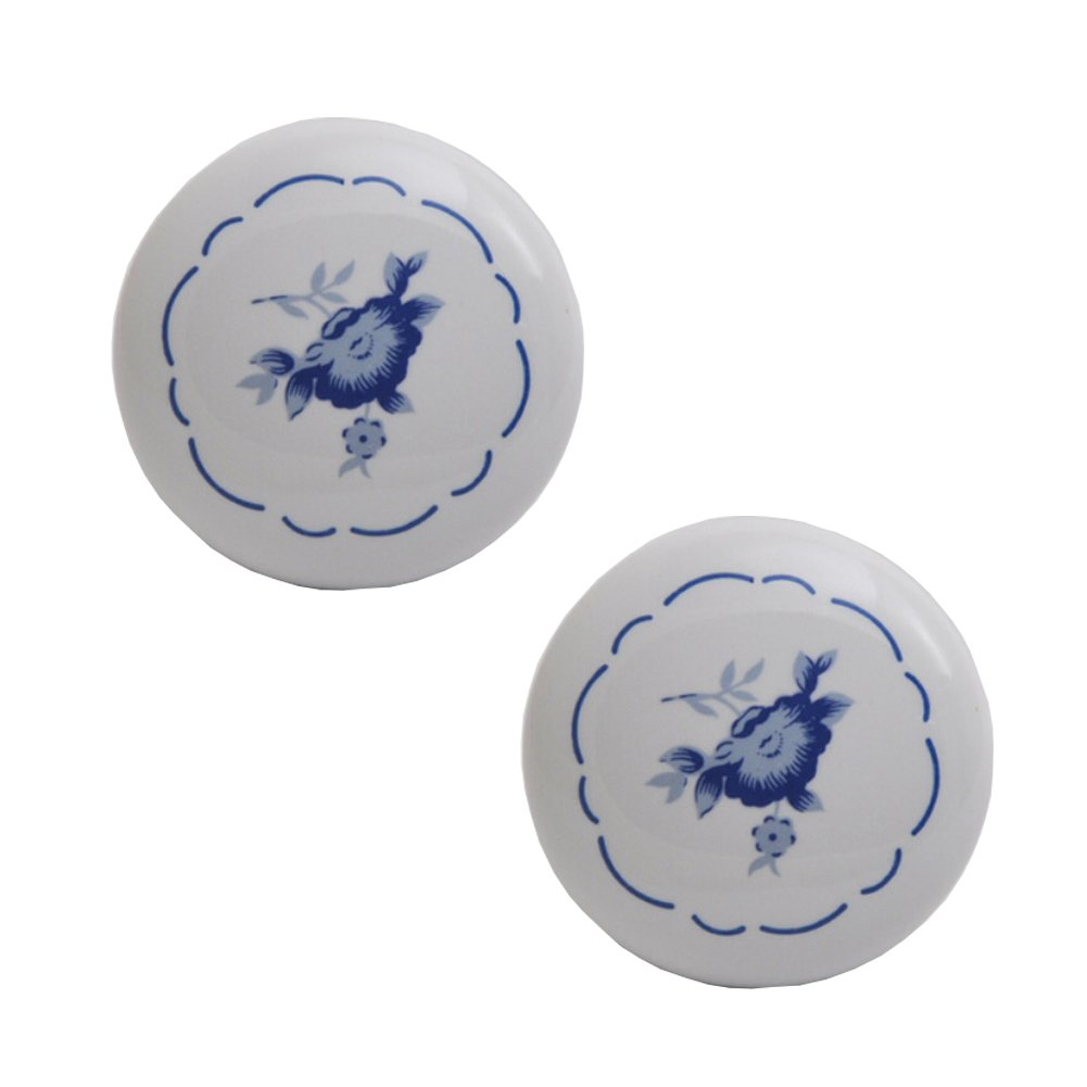 Kylin Express Set of 2 38mm Blue Peony Ceramic Cabinet Knobs Drawer Pull Handles