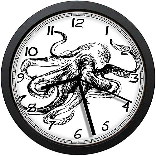 BCWAYGOD Marine Wildlife Sketch Style Illustration of Octopus with Large Tentacles Nautical Art Non-Ticking Wall Clock Silent Home Decor Battery Operated Clock 10 Inch