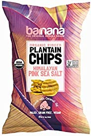 Barnana Organic Plantain Chips - Himalayan Pink Salt - 5 Ounce - Barnana Salty, Crunchy, Thick Sliced Snack - Best Chip For