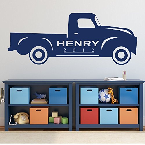 Chevy Truck Wall Decor - Personalized Classic Vehicle Vinyl Decal for Auto Lover Office, Kids Bedroom or Playroom Decoration