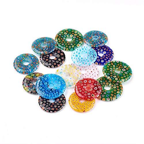 5pcs Unique Handmade Millefiori Glass Pendants Flat Round Dangle Charms 34~39mm