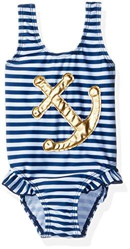Flap Happy Baby Girls' UPF 50+ Delaney Hip Ruffle Swimsuit, Hampton Stripe, 12m (Stripe Summer Hamptons)