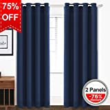 thermal shower curtain - Blackout Curtains Thermal Insulated Grommet Light Blocking Draperies Room Darkening Panels for Living Room, Bedroom, Nursery by TEKAMON (W52