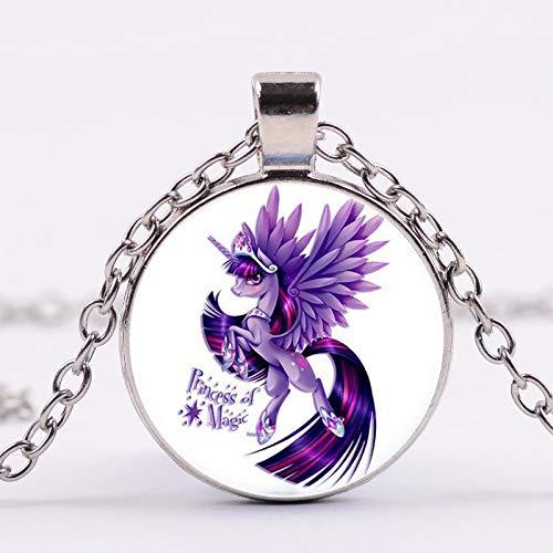 Necklace for Men Cute Alpaca Necklace My Little Baoli Rainbow Horse Design Glass Gem Necklaces Pendants Fairy Jewelry Send Children Gifts