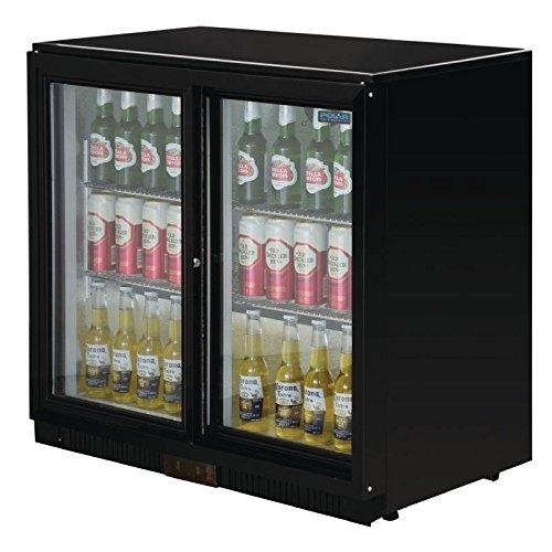 Polar doble puerta corredera 198ltr Back Bar Cooler LED negro comercial frigorífico: Amazon.es: Industria, empresas y ciencia