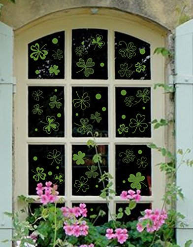 63 PCS St Patrick's Day Decorations Shamrock Window Clings Clover Static Decal Stickers -- Party Ornaments