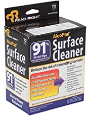 Read Right AlcoPad Surface Cleaner 91 Percent Alcohol Wipe, Pack of 72 Wipes (RR1321)