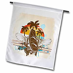 Dooni Designs Floral and Nature Designs - Retro Grunge Windsurfing Vector Nature Design - 18 x 27 inch Garden Flag (fl_104524_2)