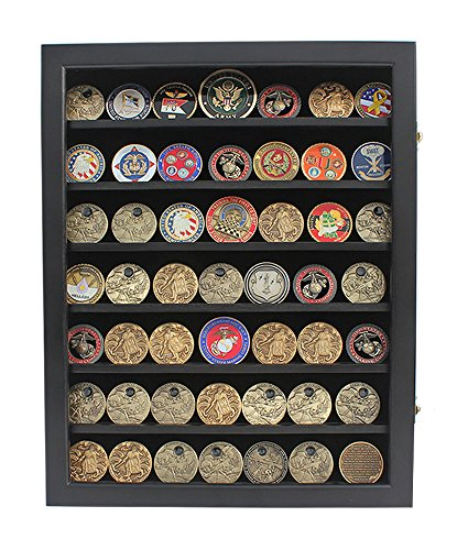 Military Challenge Coin Display Case Cabinet Rack Shadow Box Wood,