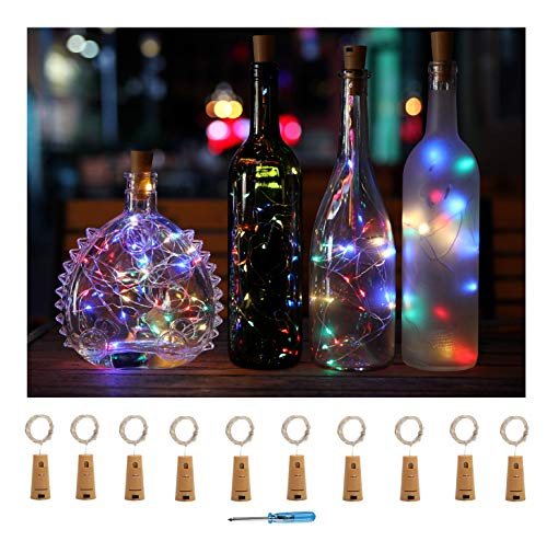 Sunlane 10 Pack Wine Bottle Lights with Cork-20 Led Battery Powered Copper Wire Fairy String lights for Garden, Patio Pathway Décor, Outdoor, DIY, Party, Wedding (Colorful-Steady1) by Sunlane