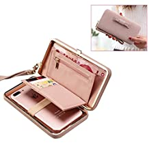 Women Clutch Wallet Purse Ladies Handbag Aeeque [Wrist Strap] PU Leather Smartphone Bowknot Pocket Multi-Card Holder Case Cover for Galaxy S8 S7 Edge J7 J3/ iPhone X 8 7 6 Plus, Gifts for Her