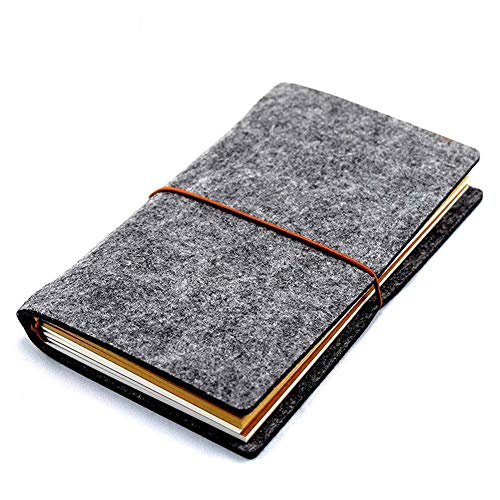 Trip Diary - Wool Felt Cover Journal / Travel Diary / Trip Planner / Notebook (Dark Grey) | 7