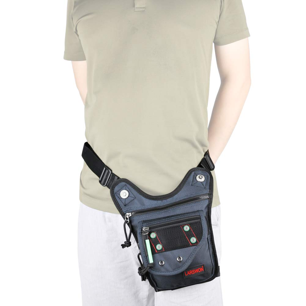 Larswon Tactical Fanny Pack Hiking Bag Leg Pouch Blue labk1228 Leg Bag Thigh Pack